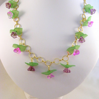 Pink and Purple Flower Necklace