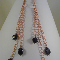 Garnet and Rose Gold Chain Earrings