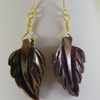 Chocolate and Cream Mother of Pearl Leaf Earrings.