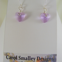 Lilac Heart Earrings