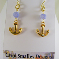 Agate and Anchor Earrings