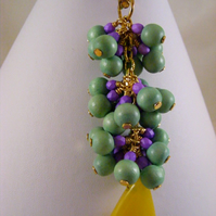 Green, Lilac and Yellow Bag Charm.