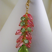 Fuchsia and Green Bag Charm
