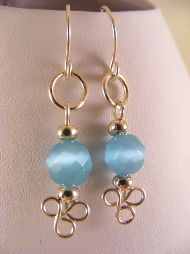 Aqua Cat's Eye Earrings.