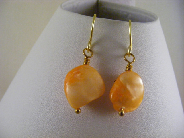 Orange Shell Earrings.