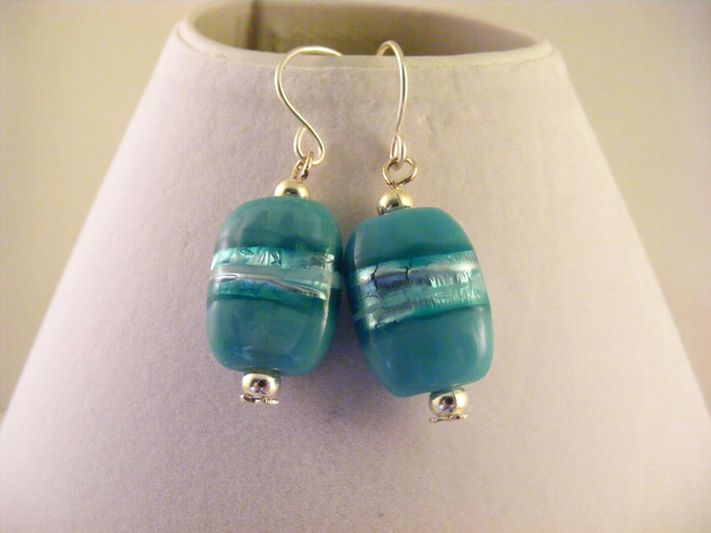 Aqua Glass Oblong Earrings.