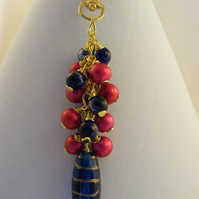 Fuchsia and Navy Bag Charm.