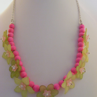Green Flowers and Pink Wooden Beaded Necklace.