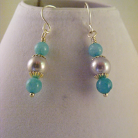Lavender Pearl and Jade Earrings.