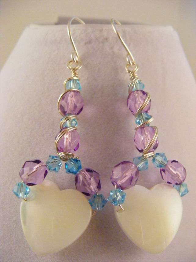 Mother of Pearl White Heart Earrings.