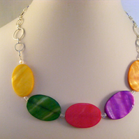 Multi Colour Oval Shell Necklace
