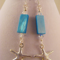 Blue Shell and Starfish Earrings.