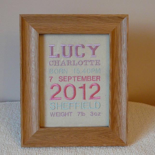 Personalised embroidered picture christening folksy personalised embroidered picture christening new baby gift embroidery child negle Choice Image
