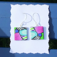 "Handmade Polymer clay bold ""mosaic""dangly earrings, sterling silver wires"