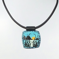 "Handmade polymer clay ""sunset""  pendant Lakeside picture necklace"