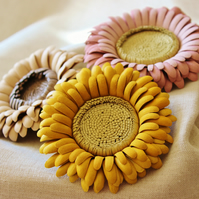 Leather brooch, leather gerbera, leather flower, leather corsage