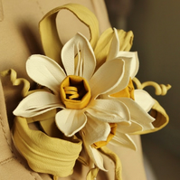 Leather jewellery, leather daffodils, leather flower, leather  gift