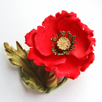 Red Poppy brooch, fabric poppy corsage, cotton flower, wedding anniversary gift