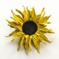 Leather corsage, leather brooch, leather sunflower, leather gift for her