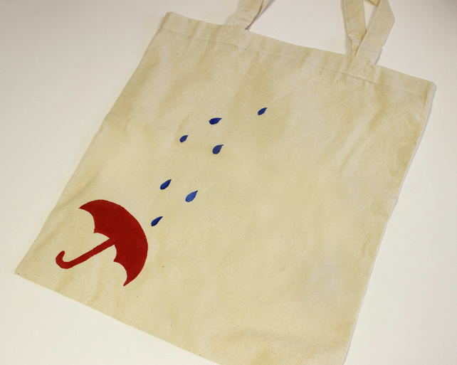 tote bag - rain - hand painted - cotton bag - shopping bag - fold away bag