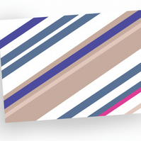 Greeting card - blank card - birthday card - stripey design - sale - pack of 4