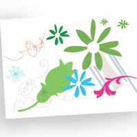Special offer: Flower mixture design greeting cards. Pack of 4
