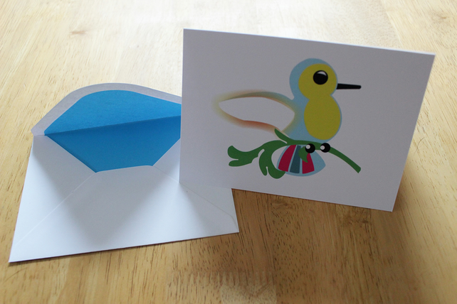 Greeting card - blank card - birthday card - humming bird - a6 card