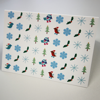 Greeting card - christmas card - festive card - christmas icons - pack of 4