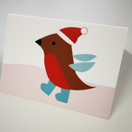 Greeting card - christmas card - festive card - red robin - pack of 4
