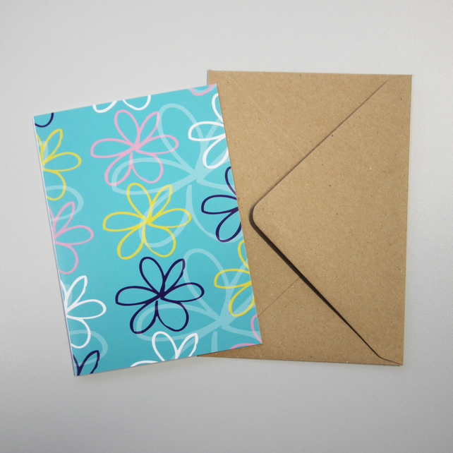 A6 Flower design greetings card