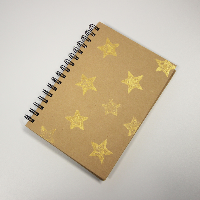 Notebook - gold star - gifts - hand stamped - sale