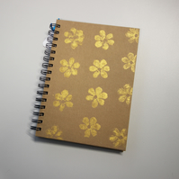 Notebook - gold floral - gifts - hand stamped