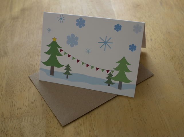 Christmas trees, a6 blank christmas greetings card