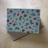 Garden delights, A6 blank greetings card