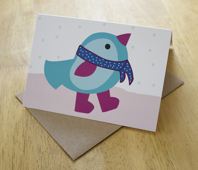 Sale: Blue bird, a6 blank christmas greetings card