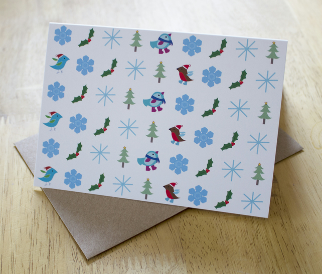 Sale: Christmas icons, blank a6 greetings card