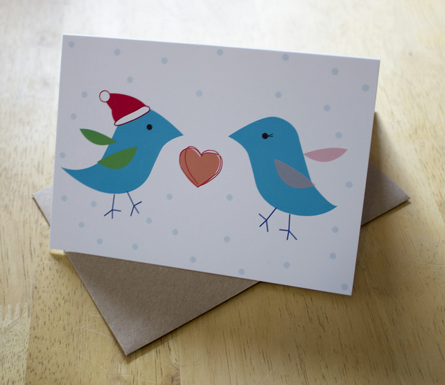Sale: Love birds, blank a6 christmas greetings card