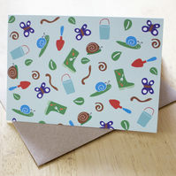Sale: Garden delights, A6 blank greetings card