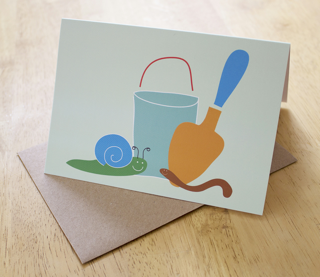 Greeting card - blank card - birthday card - garden friends - sale - a6 card