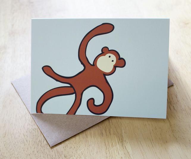 Monkey business A6 blank greetings card