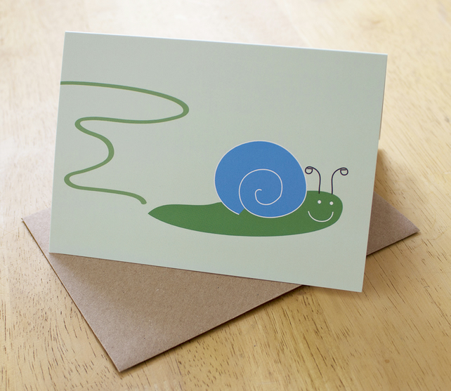 Greeting card - blank card - greetings card - birthday card - snail trail