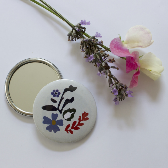 mirror - pocket mirror - flower design