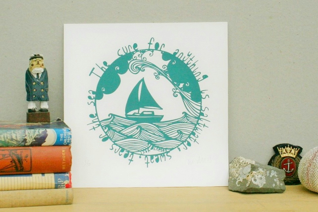 Saltwater cure screen print - Crafty Lou - Louise McLaren