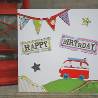 Happy Birthday Campervan Greeting Card S106