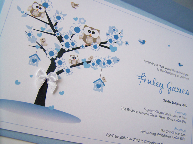 Pack of 10 hand made christening invitations folksy - Idee de decoration pour bapteme garcon ...