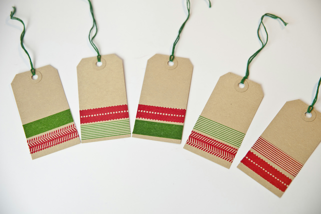 Christmas Gift Tags - Washi Tape Gift Tags - 5 Red and Green Striped Tags