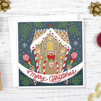 Gingerbread House Illustrated Christmas Card