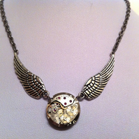 Steampunk Necklace - Watch movement with wings