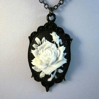 Gothic Cameo Necklace - White Rose on Black
