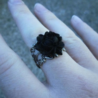 Gothic Cameo Ring - Black Rose - Antique SIlver coloured FIligree